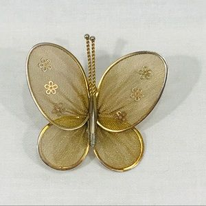 Antique Gold Toned Butterfly Pin / Brooch